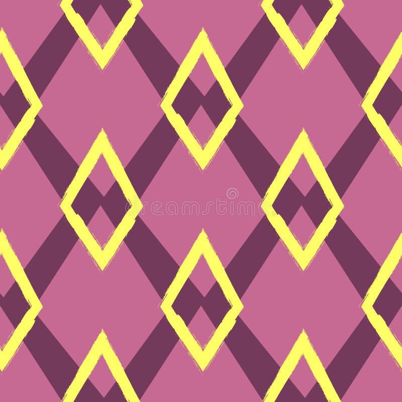 Покрашенная безшовная геометрическая картина Орнамент повторять косоугольники иллюстрация штока