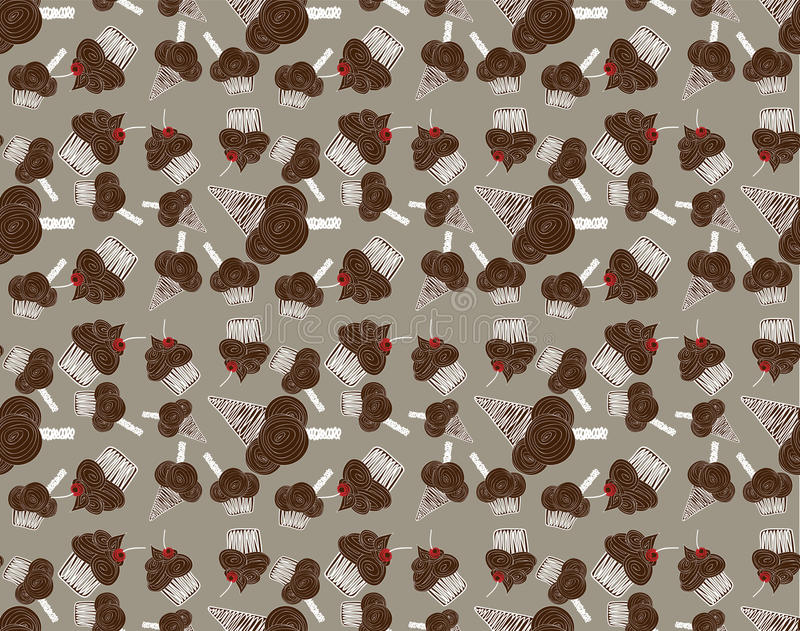 Покрашенная безшовная картина с помадками шоколада иллюстрация штока