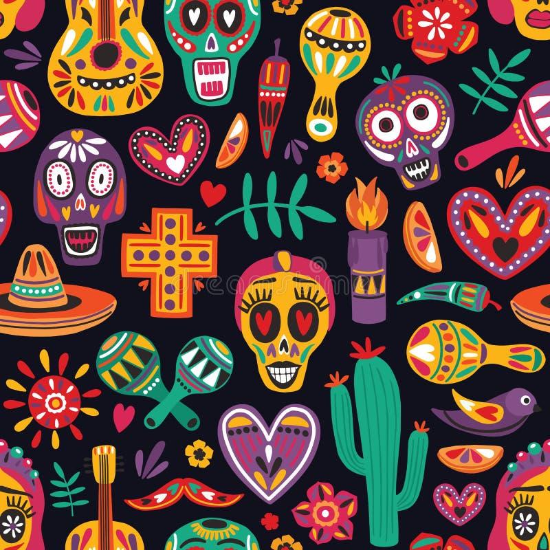 Покрашенная безшовная картина с традиционными украшениями Dia de los Muertos на черной предпосылке Фон праздника празднично иллюстрация вектора