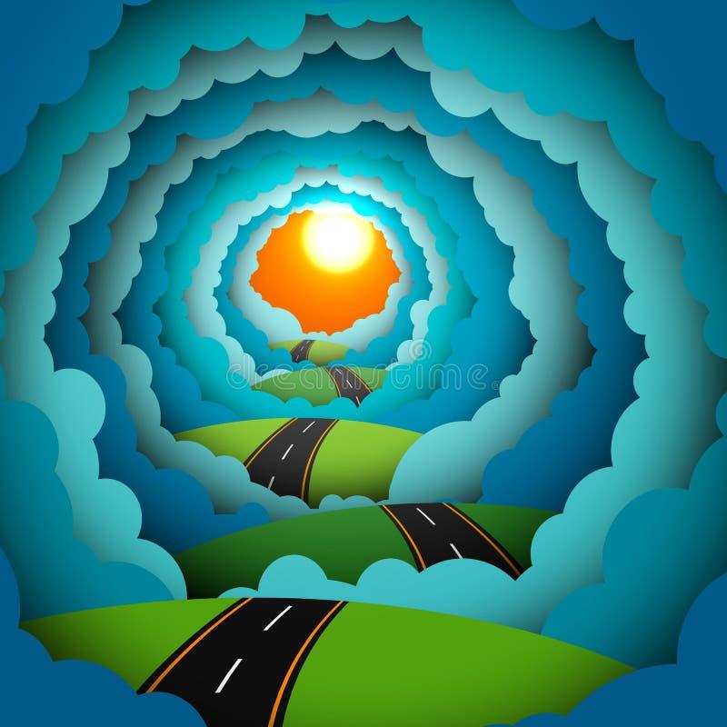 Покрашенная бумага, дорога, небеса, солнце, облака иллюстрация вектора