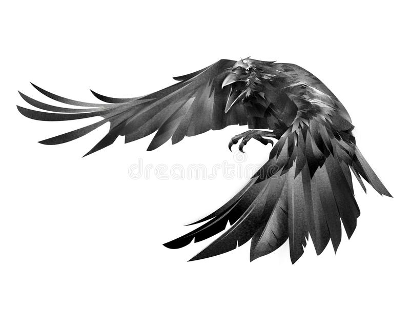 Покрашенная ворона атакуя птицу на белой предпосылке бесплатная иллюстрация
