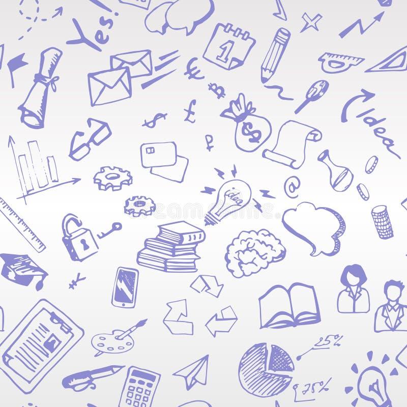 Покрашенная вручную голубая ручка тема дела эскиза Patt Beshevsny бесплатная иллюстрация