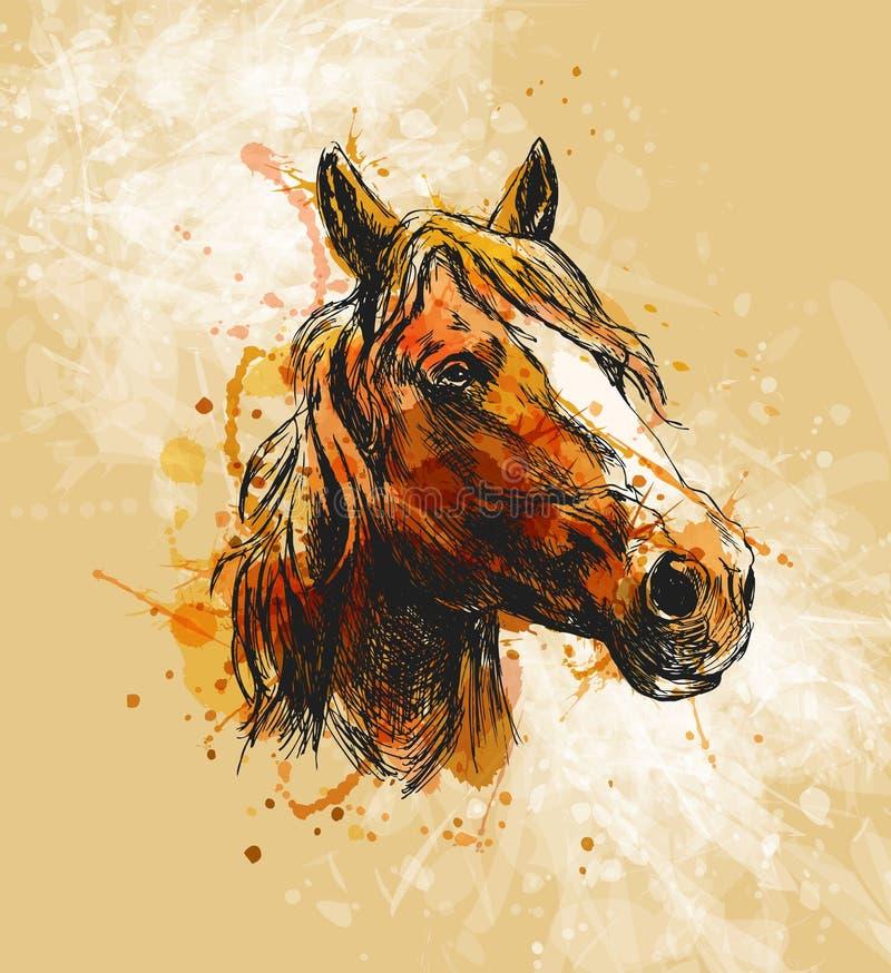 Покрашенная голова лошади эскиза руки на предпосылке grunge бесплатная иллюстрация