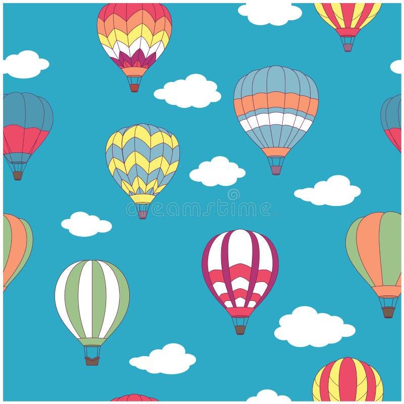 Покрашенная горячая картина воздушных шаров безшовная бесплатная иллюстрация
