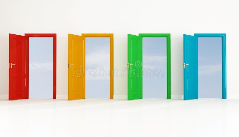 покрашенная дверь 4 открытая иллюстрация штока