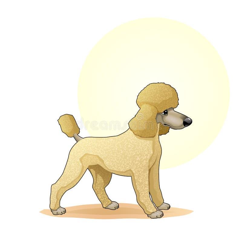 Покрашенная желтым цветом иллюстрация вектора собаки щенка изумительная Милый шарж выслеживает иллюстрацию doggy хлебов характеро иллюстрация штока