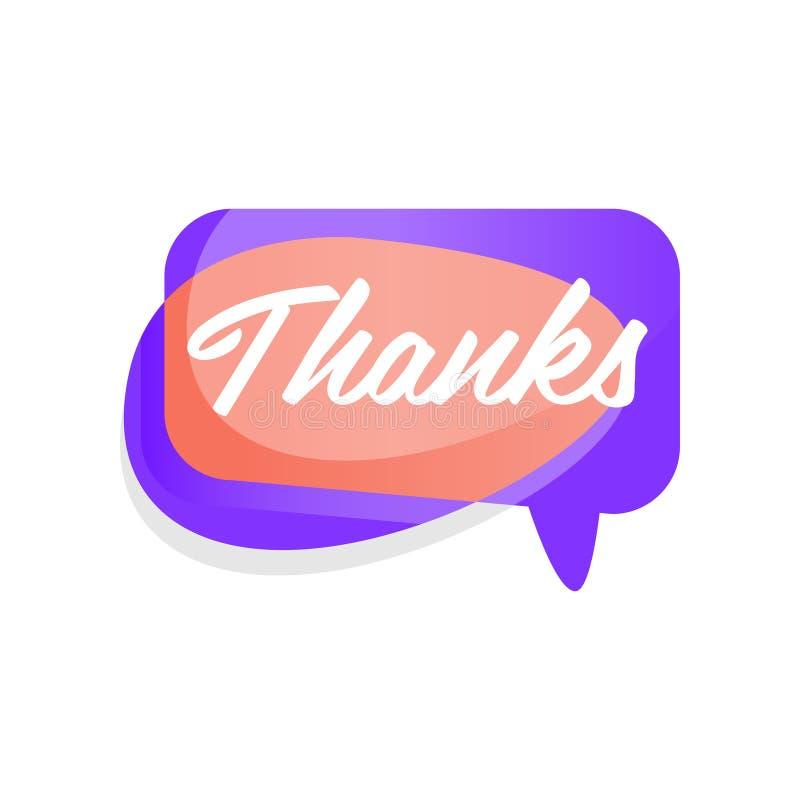 Покрашенная иллюстрация облака пузыря речи с спасибо слова Стикер показывая признательность и возвращающ доброту вектор иллюстрация вектора