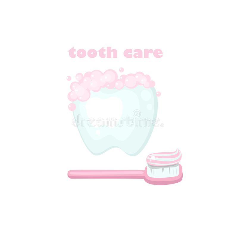 Покрашенная иллюстрация о здоровье и заботе зуба иллюстрация штока