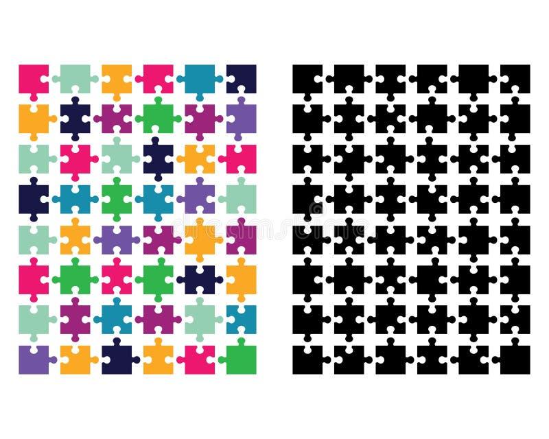 Покрашенная и черная головоломка иллюстрация вектора