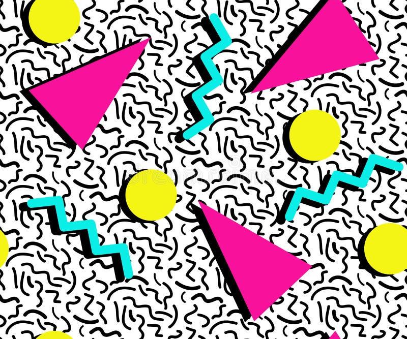 ПОКРАШЕННАЯ КАРТИНА СТИЛЯ МЕМФИСА БЕЗШОВНАЯ ТЕКСТУРА ГЕОМЕТРИЧЕСКИХ ЭЛЕМЕНТОВ ДИЗАЙН 80S-90S НА БЕЛОЙ ПРЕДПОСЫЛКЕ иллюстрация штока
