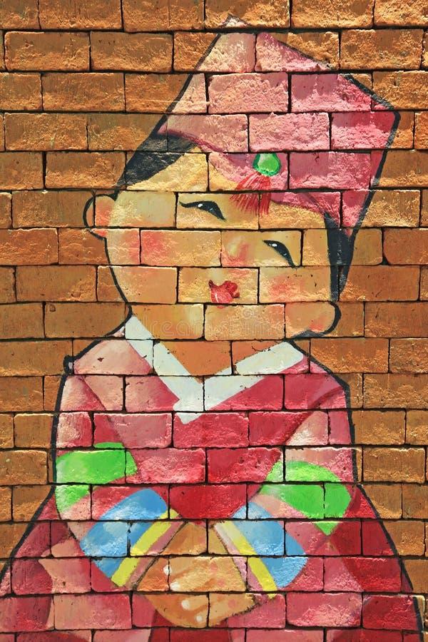 Download Покрашенная кирпичная стена корейской девушки Стоковое Изображение - изображение насчитывающей приветствие, япония: 41653121