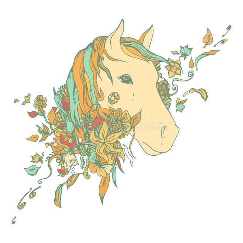 Покрашенная конспектом голова лошади, печать бесплатная иллюстрация