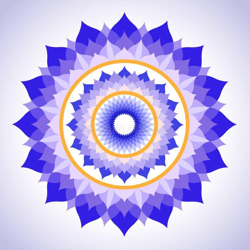 Покрашенная конспектом мандала изображения Sahasrara иллюстрация вектора