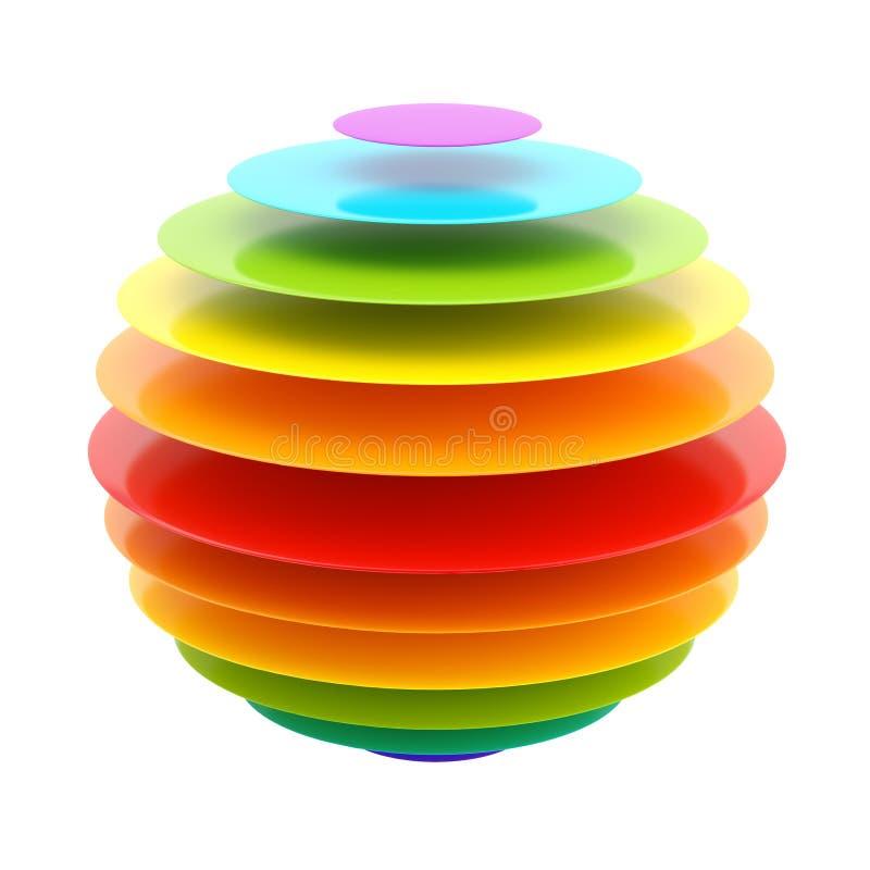 покрашенная конспектом сфера радуги слоя иллюстрация вектора