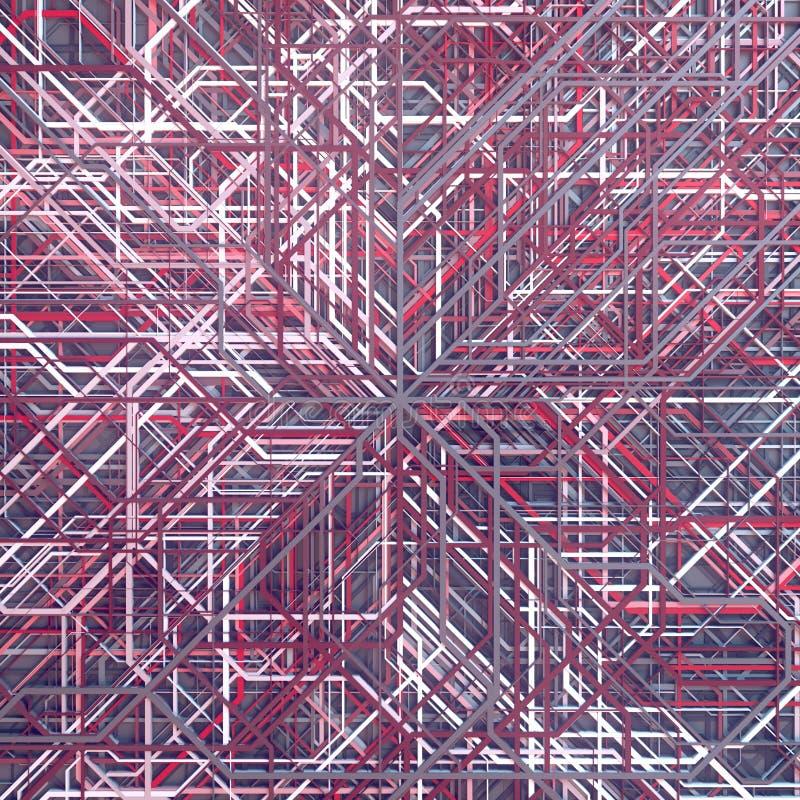 Покрашенная конспектом футуристическая картина techno Современные крышки конструируют Иллюстрация цифров 3d иллюстрация вектора