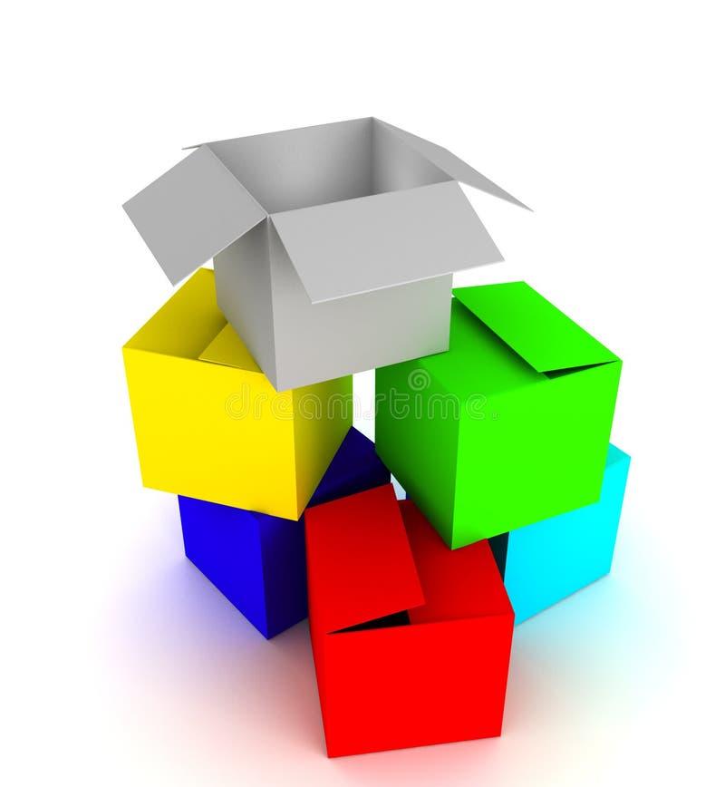 покрашенная коробка блока иллюстрация вектора