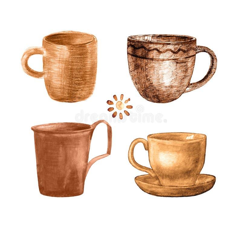 Покрашенная кофейная чашка установила иллюстрация вектора