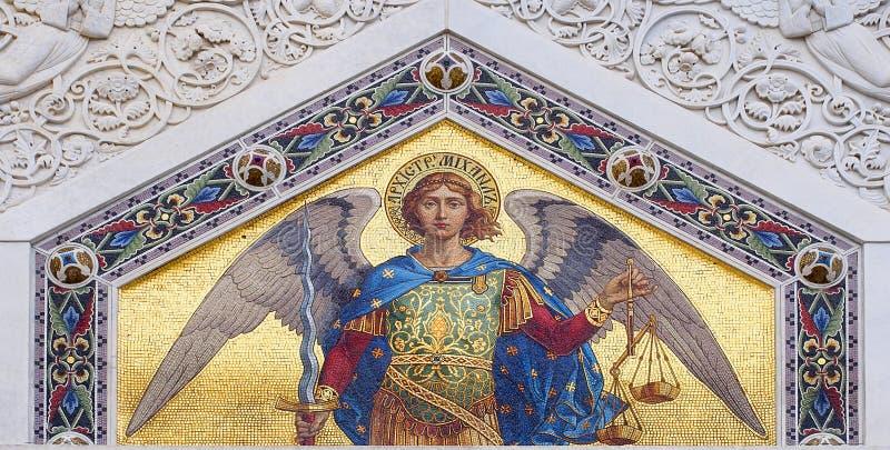 Покрашенная мозаика St Michael стоковые фотографии rf