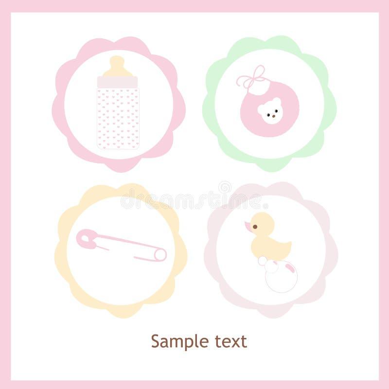 Покрашенная пастелью поздравительная открытка вектора значка ребёнка установленная иллюстрация штока