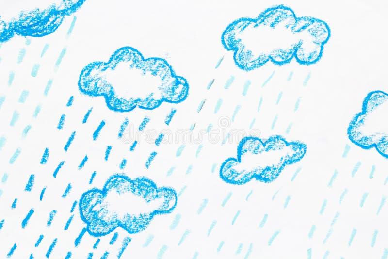 Покрашенная пастель дождя и облака иллюстрация вектора