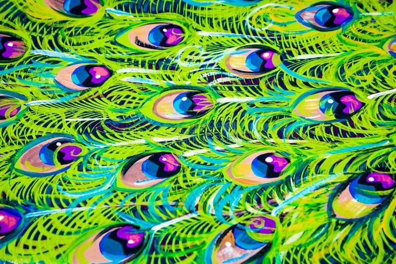Покрашенная предпосылка пера павлина - конспект стоковые изображения
