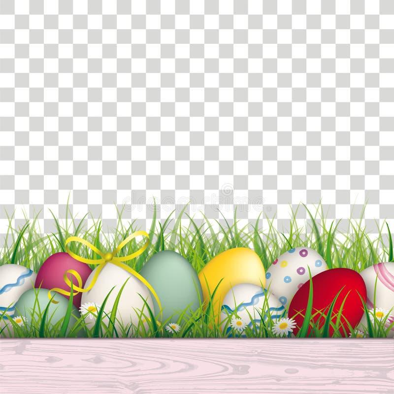 Покрашенная предпосылка травы пасхальных яя прозрачная иллюстрация штока