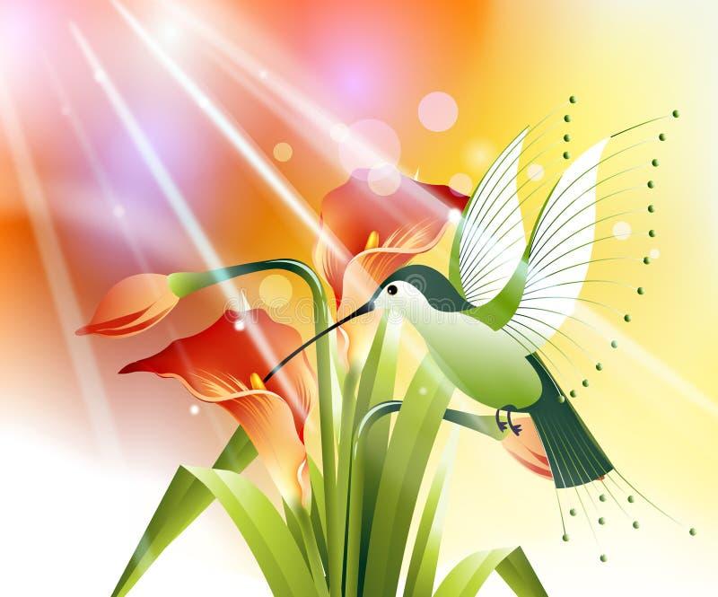 покрашенная птица припевать иллюстрация вектора