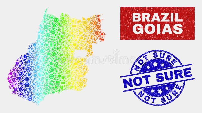 Покрашенная радуга собирает карту государства Goias и огорчает уверенные печати бесплатная иллюстрация