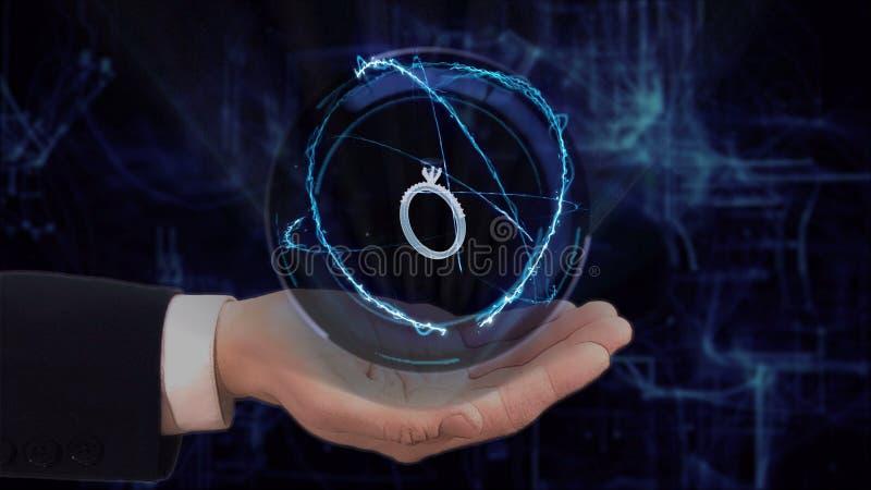 Покрашенная рука показывает кольцо hologram 3d концепции на его руке стоковое изображение