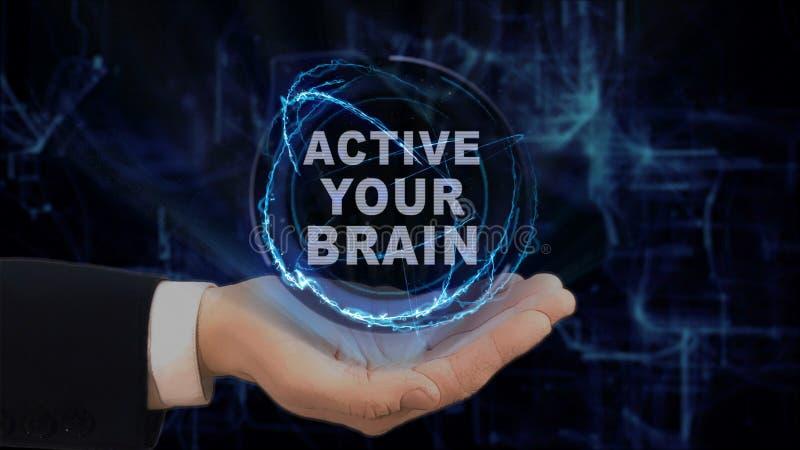 Покрашенная рука показывает Active hologram концепции ваш мозг на его руке стоковое фото