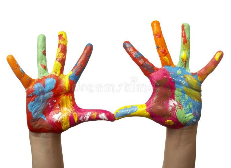покрашенная рука цвета ребенка стоковая фотография rf