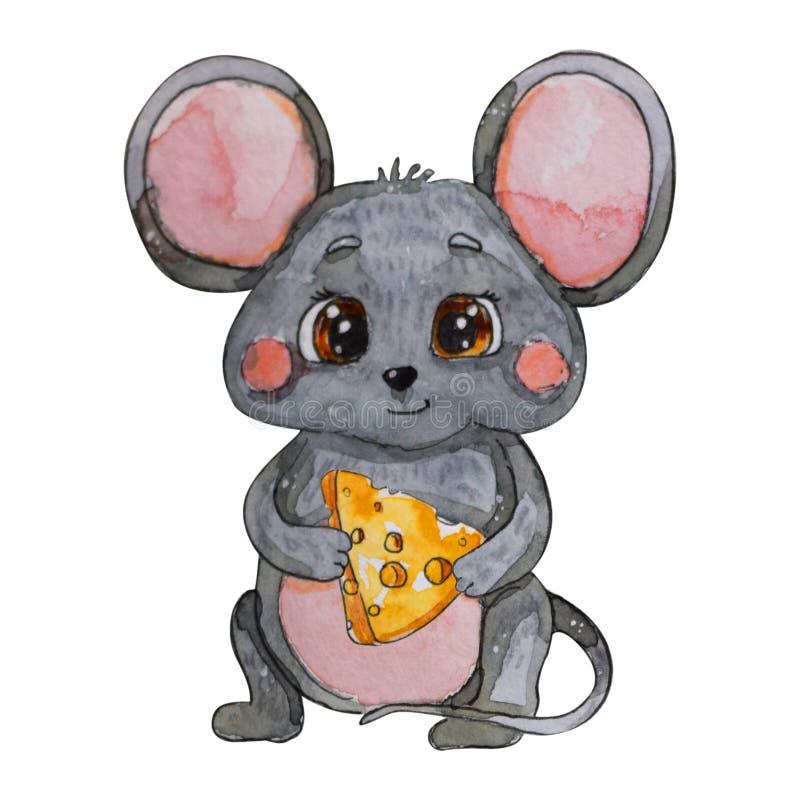 Покрашенная рукой мышь акварели Китайский год мыши иллюстрация штока
