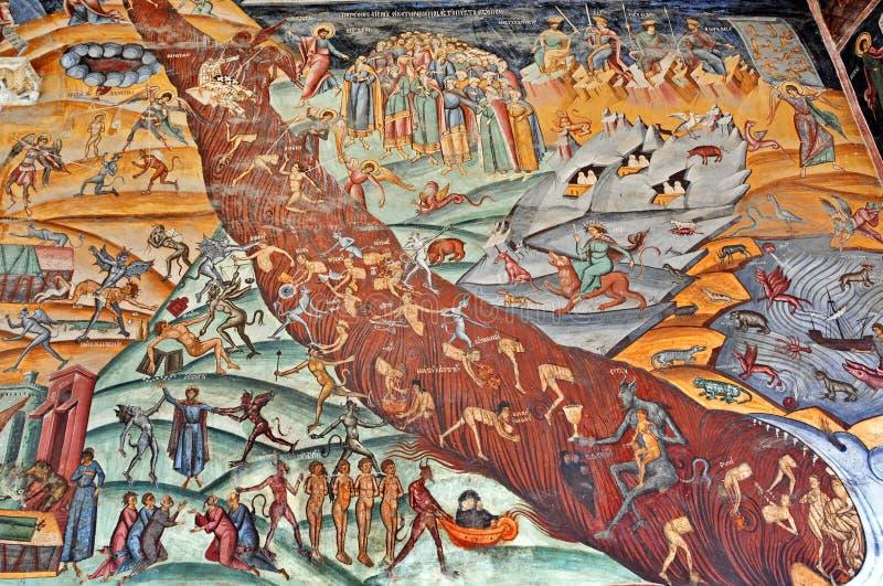 Покрашенная Судным Днем фреска стены стоковое изображение