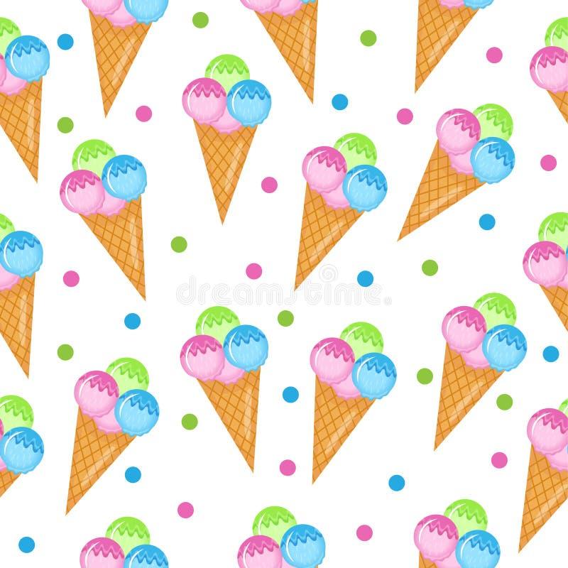 Покрашенная текстура мороженого безшовная Предпосылка конуса мороженого шариков Младенец, дети обои и ткани также вектор иллюстра бесплатная иллюстрация
