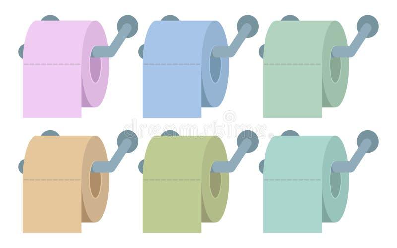 Покрашенная туалетная бумага, туалетная бумага с длинной тенью, логотипом туалетной бумаги бесплатная иллюстрация