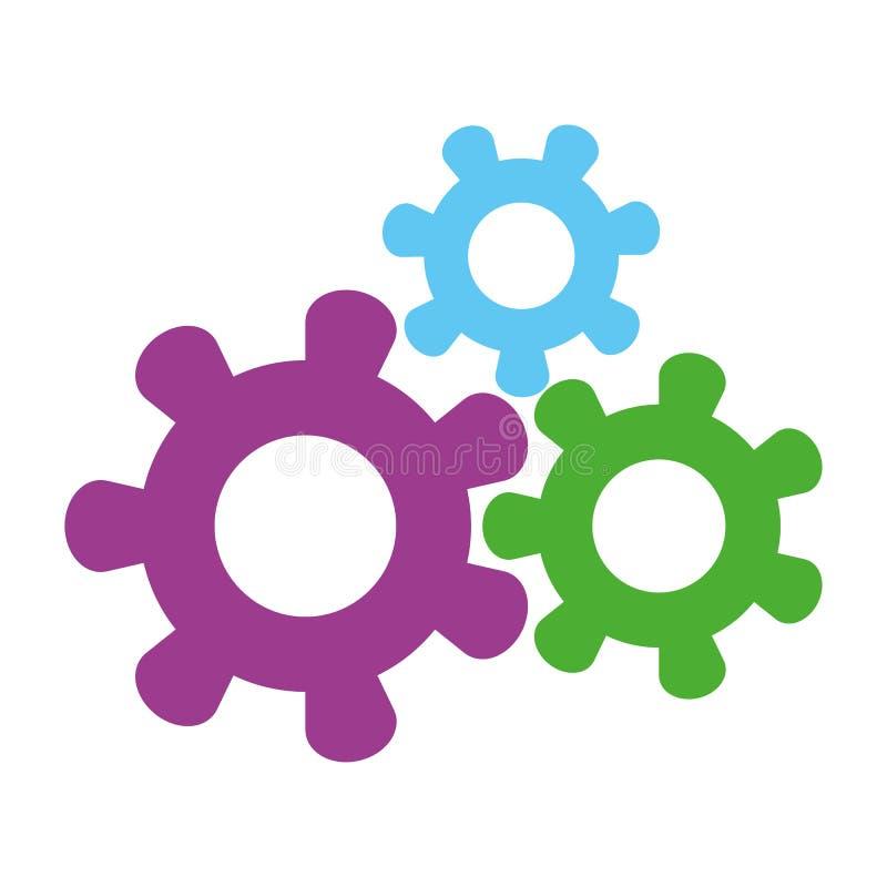 3 покрашенная установка системы шестерни зацепляет вектор eps10 на белой предпосылке иллюстрация вектора