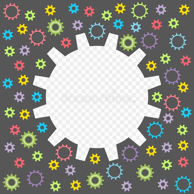 Покрашенная шестерня младенца изолированная на прозрачной предпосылке Рамка в форме шестерней с возможностью верхнего слоя вектор иллюстрация штока