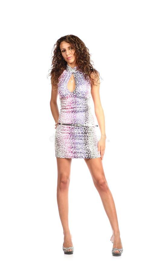покрашенное брюнет parti платья сексуальное стоковые изображения rf