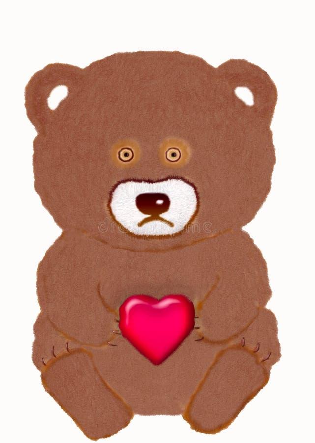 Покрашенное сердце игрушки с медведем стоковые изображения rf