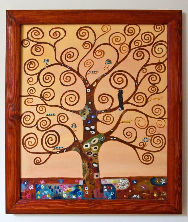 Покрашенное художественное произведение - дерево с свирлью разветвляет холст стоковые изображения