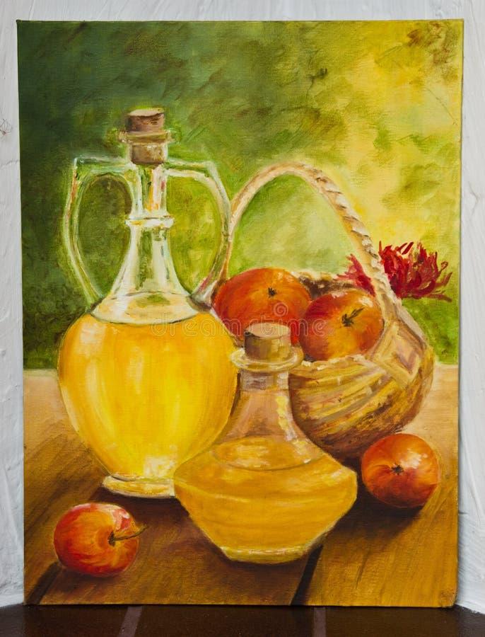 Покрашенное художественное произведение - опарникы с фруктовым соком иллюстрация вектора