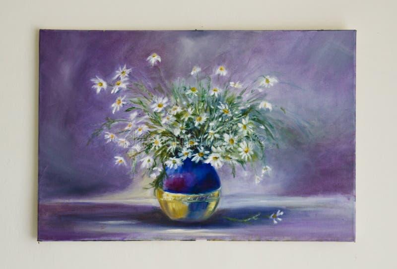 Покрашенное художественное произведение - field цветки в вазе на сини бесплатная иллюстрация