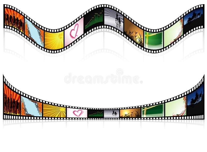 2 покрашенное Filmstrip иллюстрация вектора