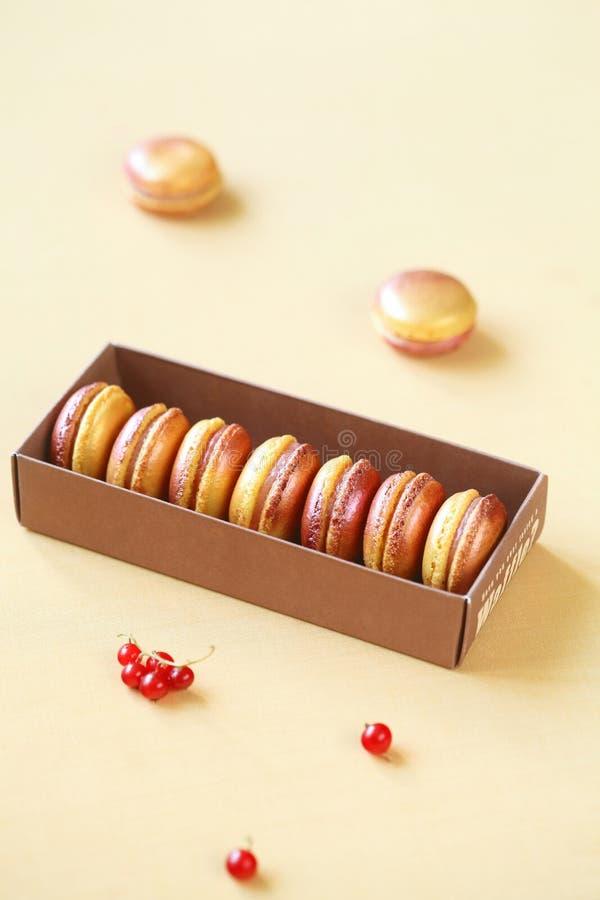 Покрашенное Macarons с белой завалкой шоколада, персика и красной смородины стоковые фото