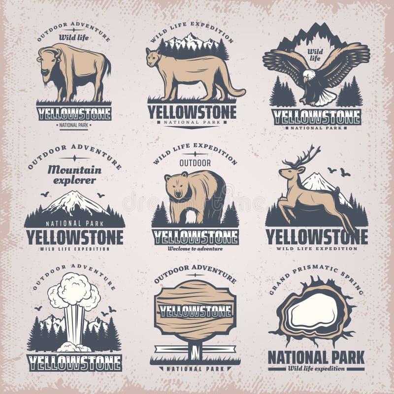 Покрашенные годом сбора винограда установленные эмблемы национального парка иллюстрация штока