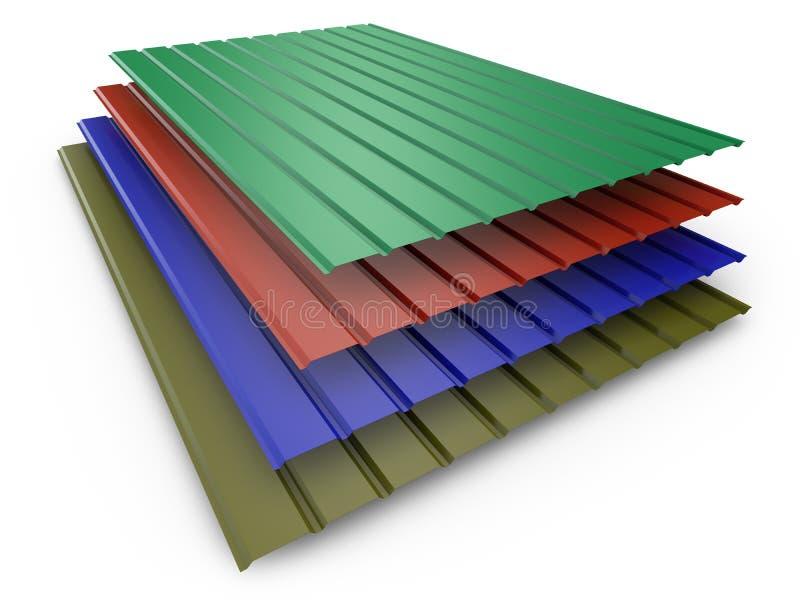 Покрашенные листы профиля металла иллюстрация вектора