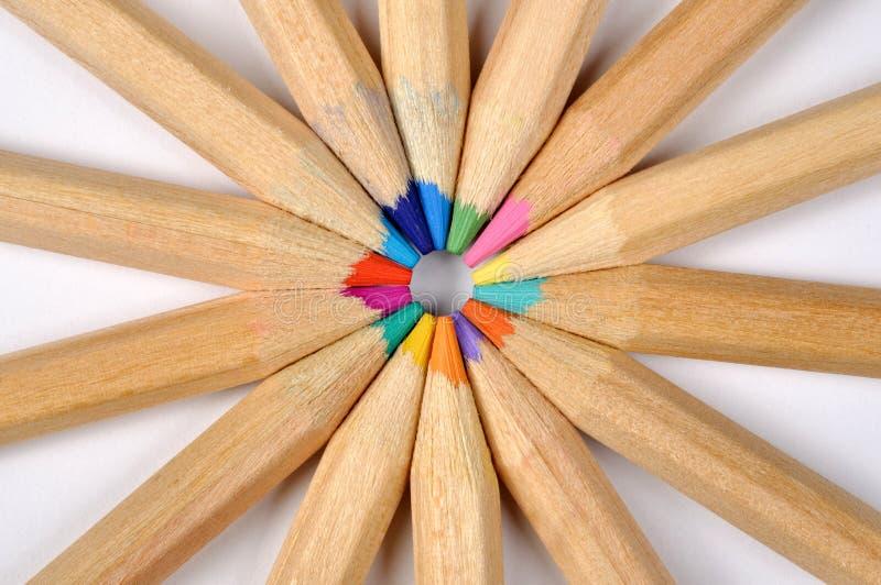 покрашенные карандаши макроса стоковые изображения