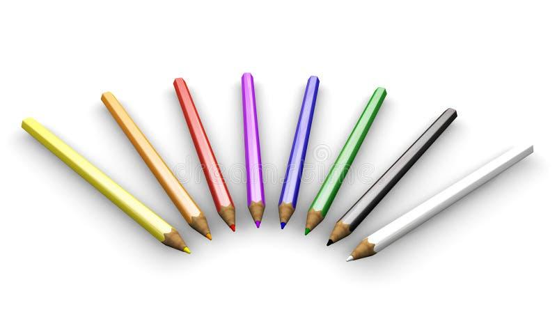 покрашенные карандаши иллюстрация вектора