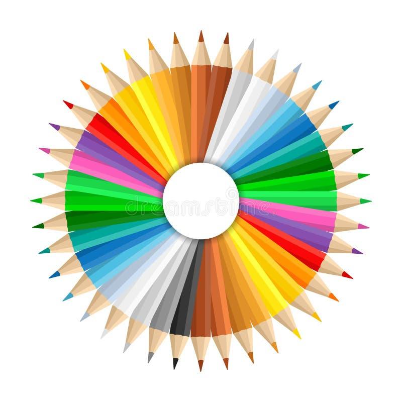 покрашенные карандаши иллюстрация штока