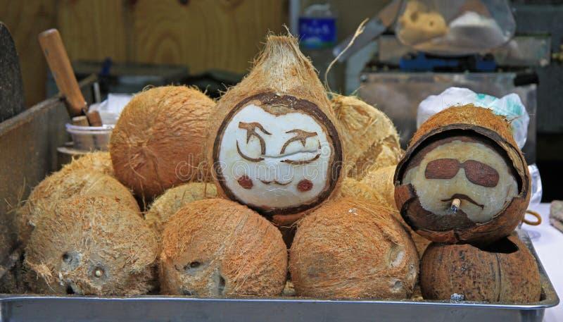 Покрашенные кокосы с сторонами, Lijiang стоковые изображения